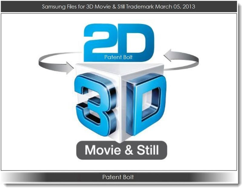 2. Patent Bolt - Samsung Files for 3D Movie & Still Trademark March 5, 2013
