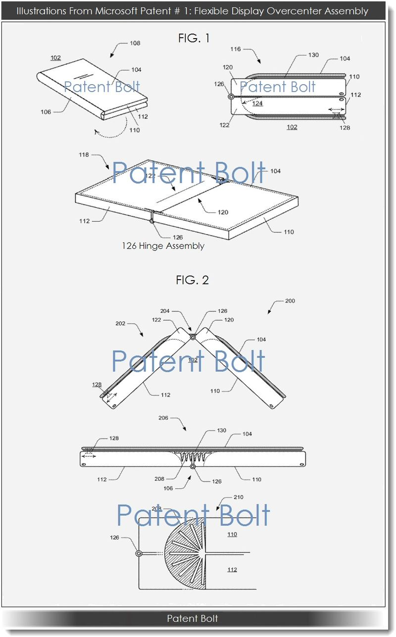 2. Msft patent #1 re flexible display overcenter assembly