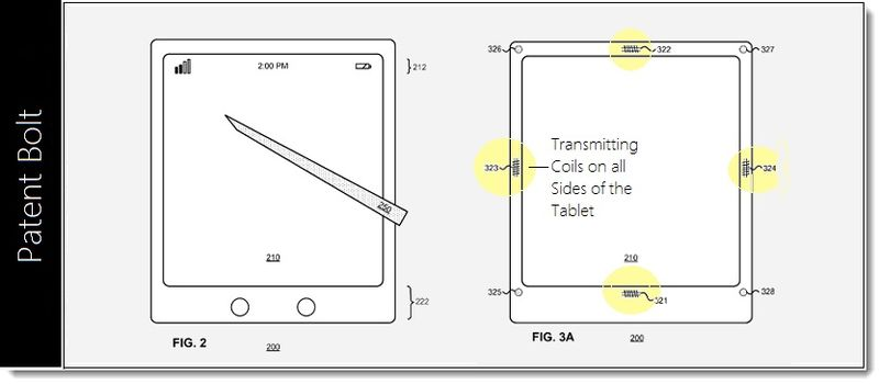 2. Msft Patent Figs 2 and 3a illustrating transmitting coils integrated into all sides of the tablet