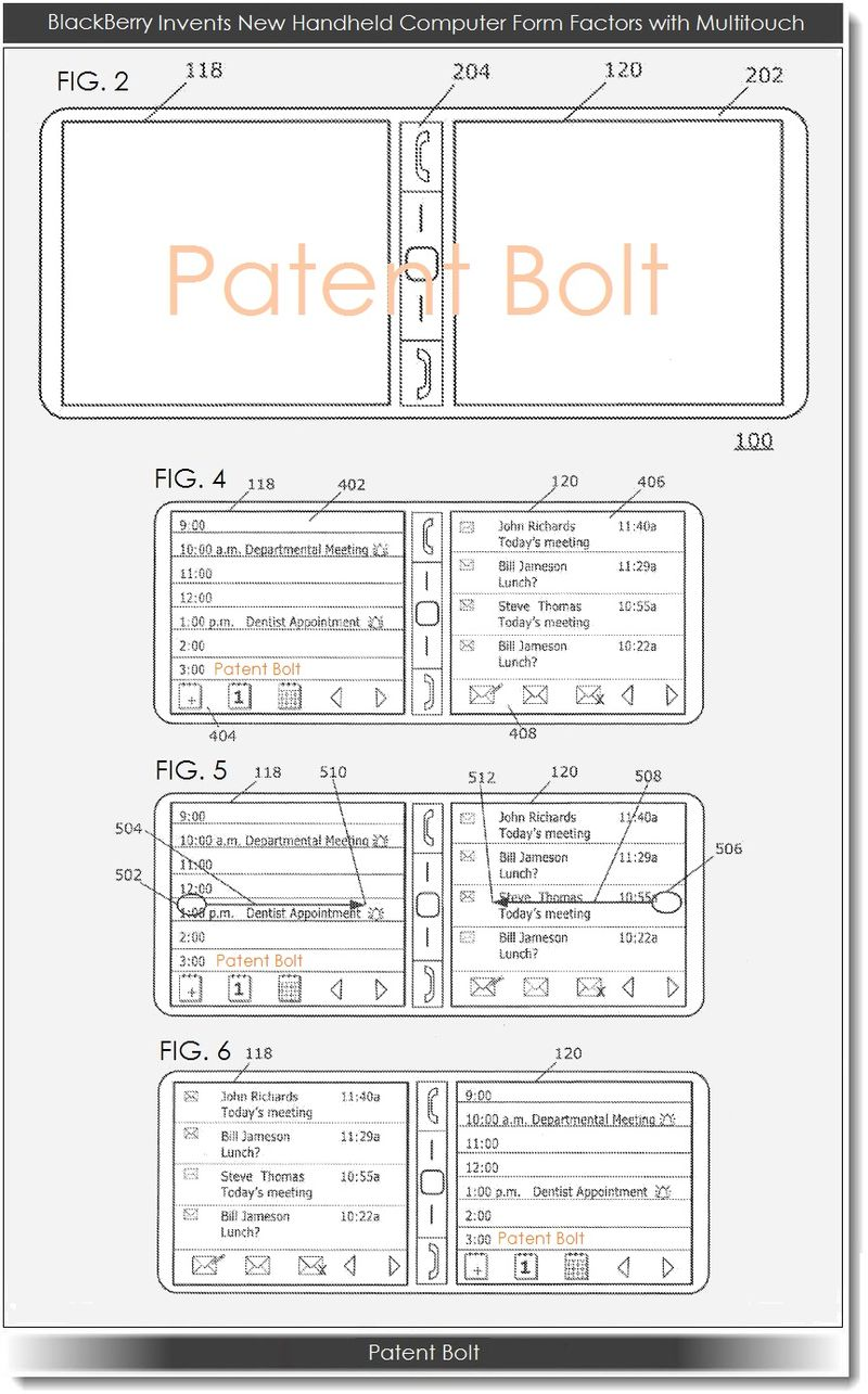 2. BlackBerry, mobile device form factors, Multitouch patent