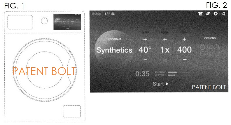 6. Samsung Design Patent for a Washing Machine with a touch based LCD Display