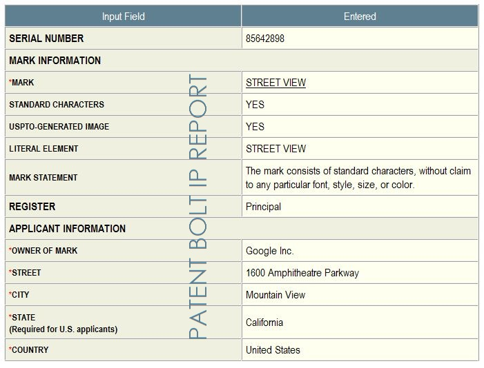 3. Google's applcation in-part for Street View in June 2012