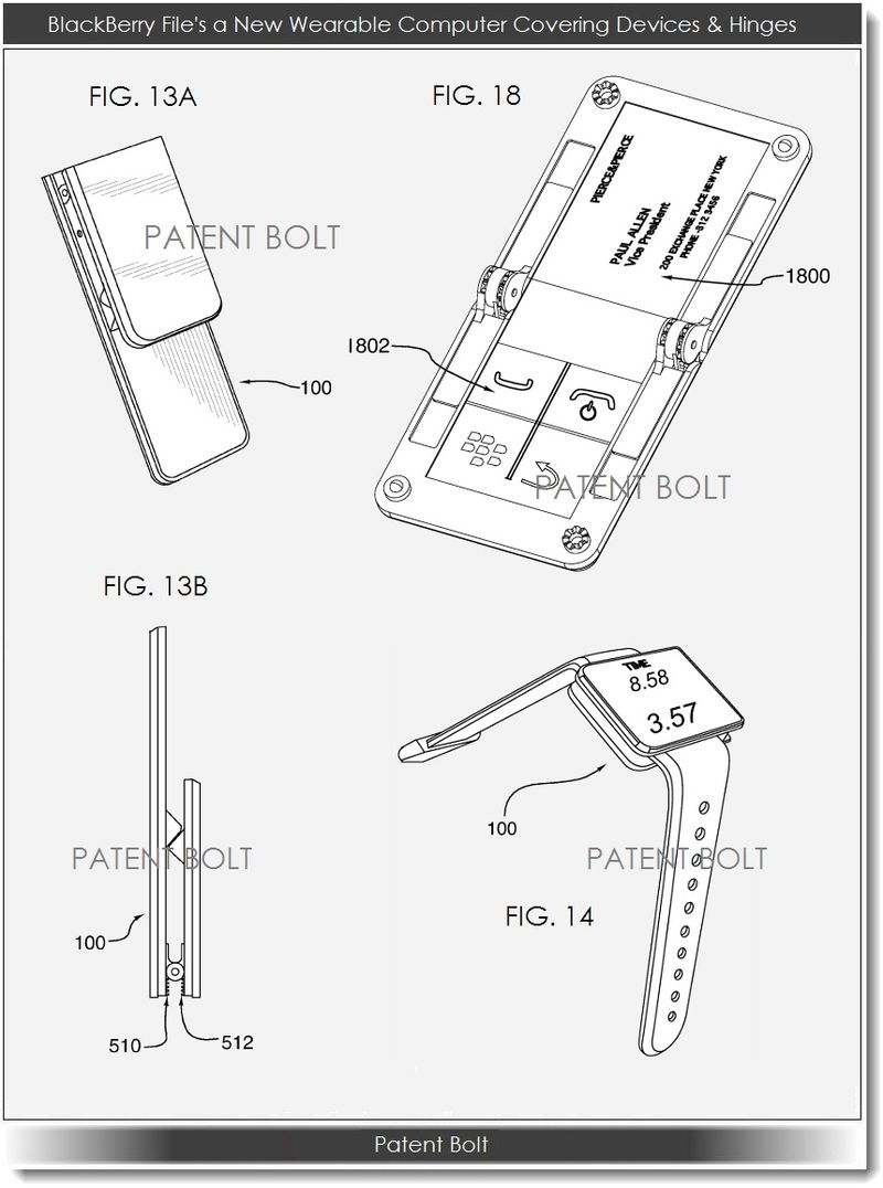 2. BlackBerry Patent Application for wearable computers and hinges