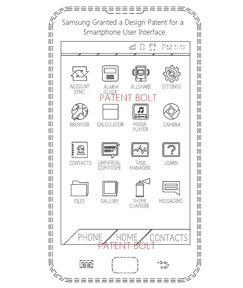 8. Samsung wins design patent for a smarphone UI