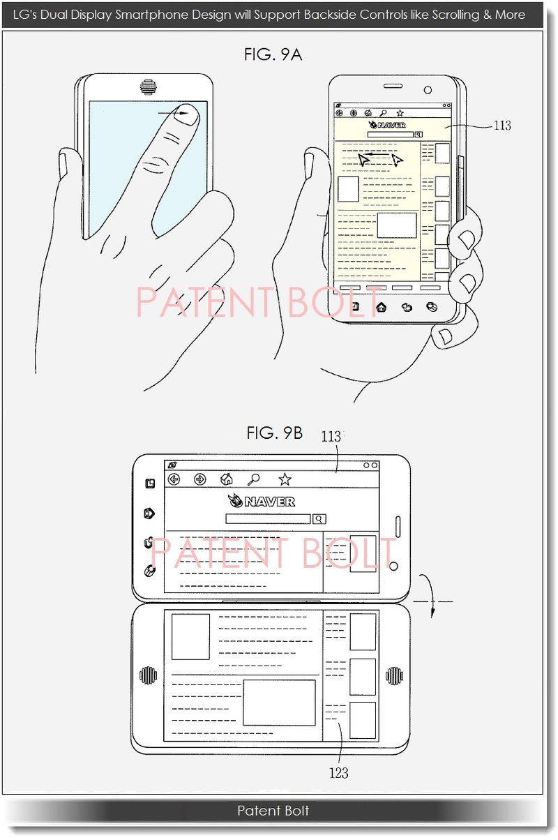 6. LG dual display smartphone design will support backside controls