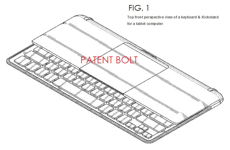 7. Samsung granted design patent for tablet keyboard kickstand accessory fig. 1
