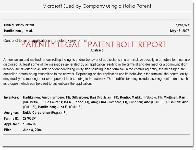 2. Msft sued by company using a Nokia Patent