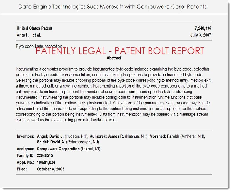3 data engine technologies sues msft with compuware patents