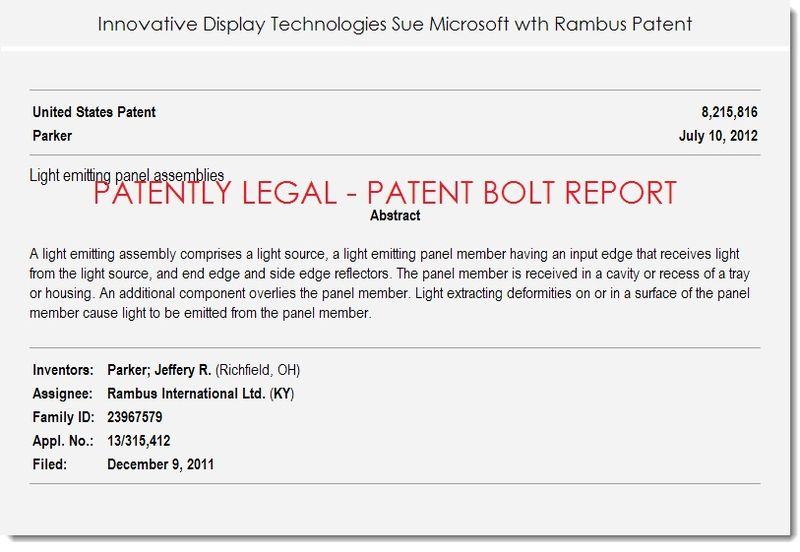4. Innovative display technologies sue Msft with Rambus patent