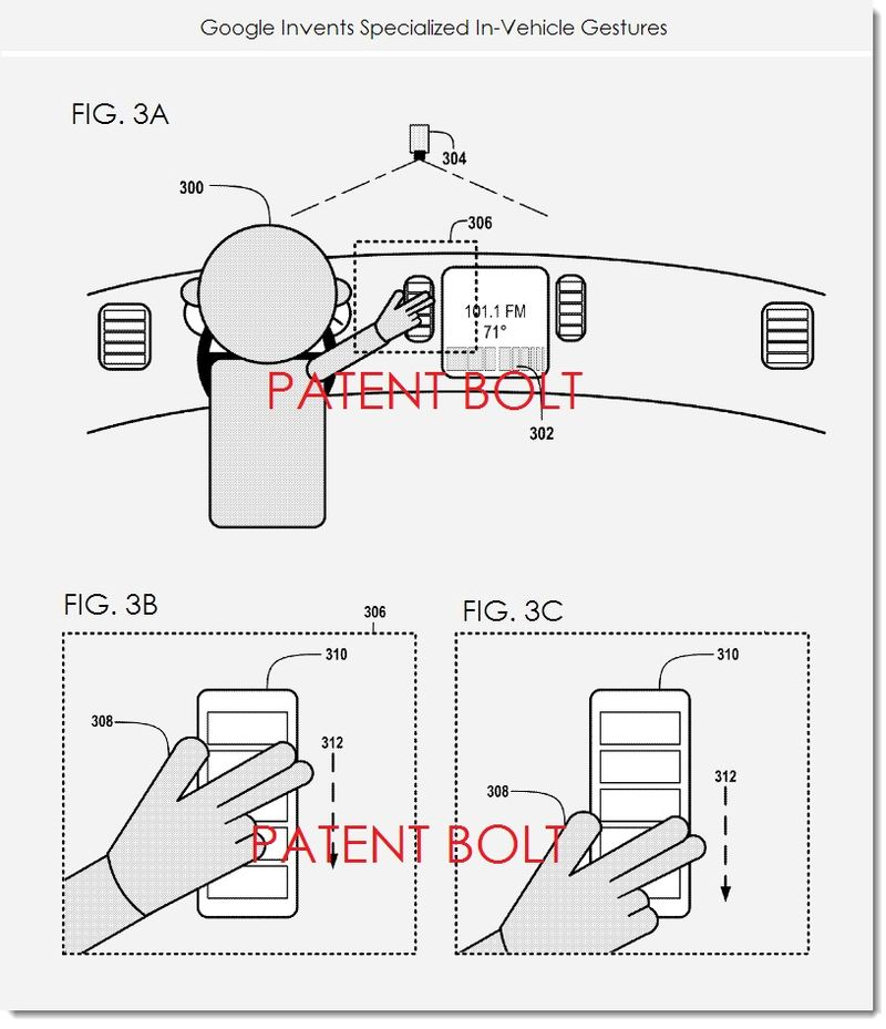 2. Google seeks patent for specialized in-vechicle gestures, FIGS. 3 A,B,C