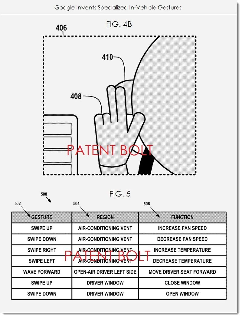 3. Google seeks patent for specialized in-vechicle gestures FIGS. 4B, 5