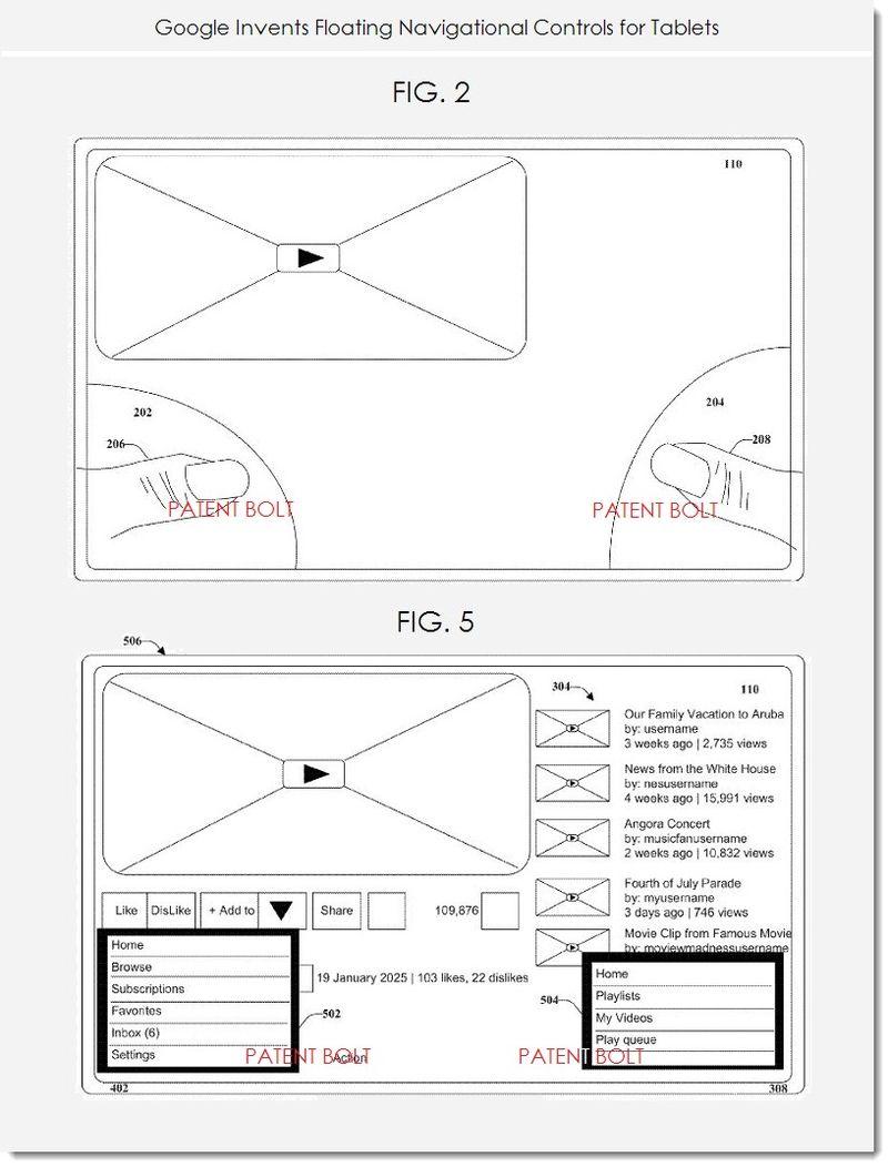 2. Google invents floating navigational controls for tablets