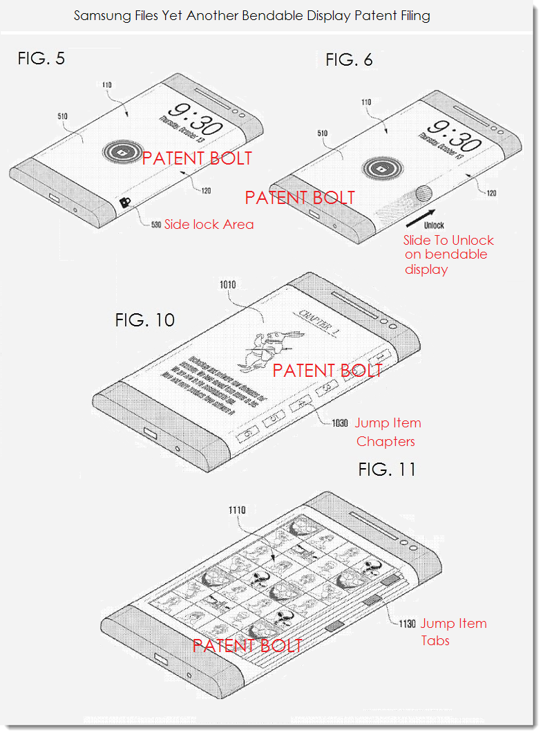 4. Samsung bendable display patent figs 5, 6,10 & 11