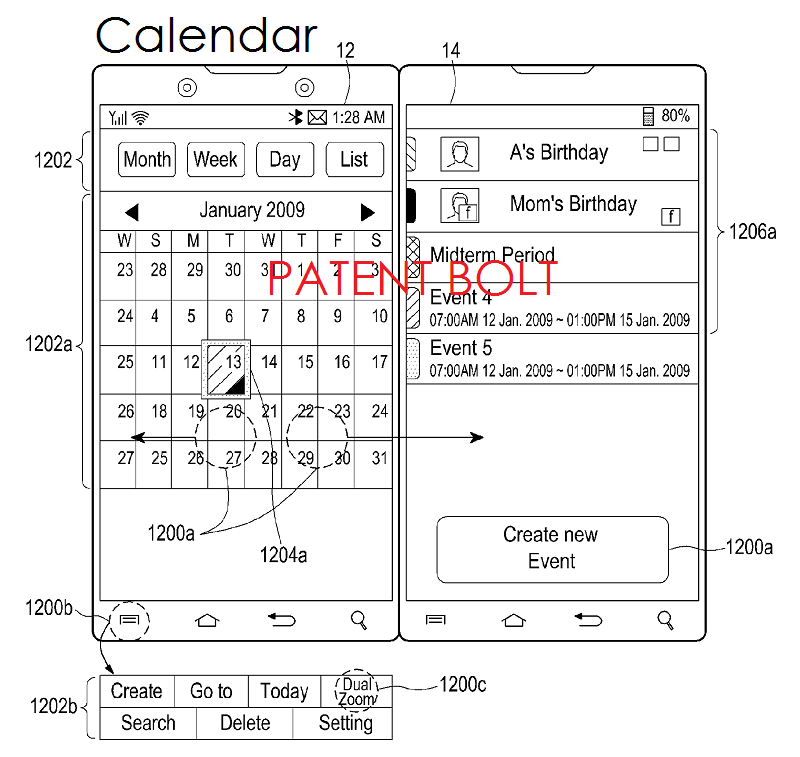 8. Samsung dual display patent Dec 2013 - CALENDAR APP