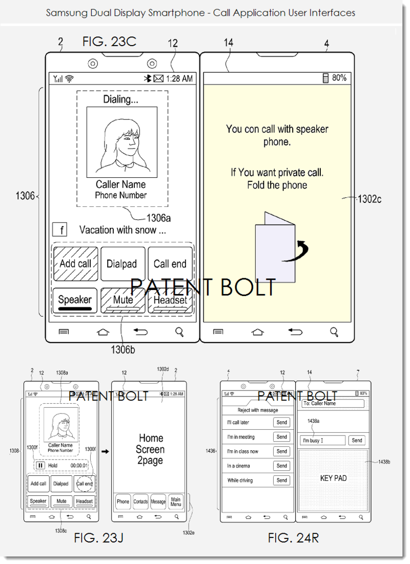 6. Samsung dual display smartphone patent filing - Call app UIs