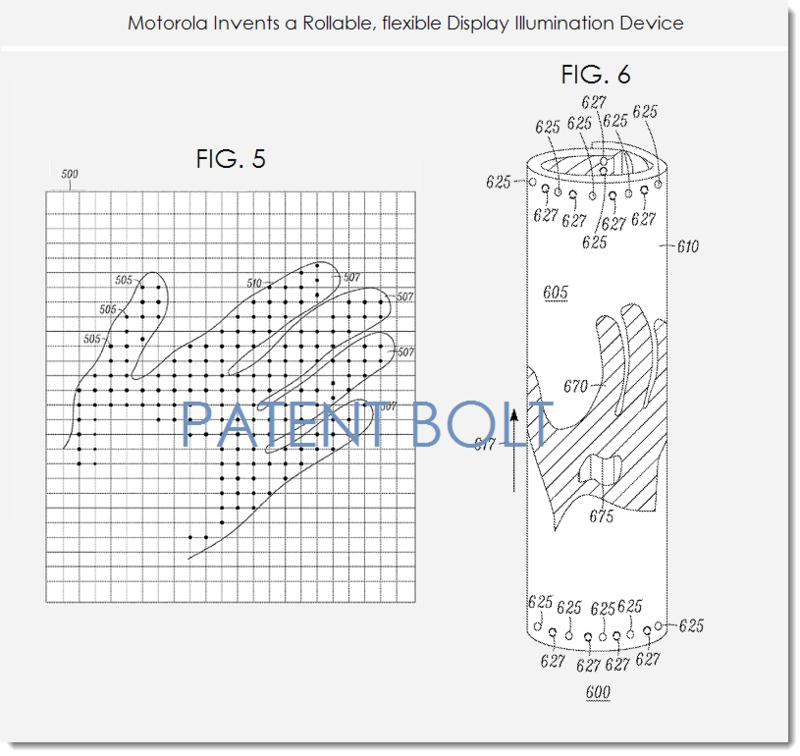4. Motorola patent figs 5, 6, rollable flex display illuminating device