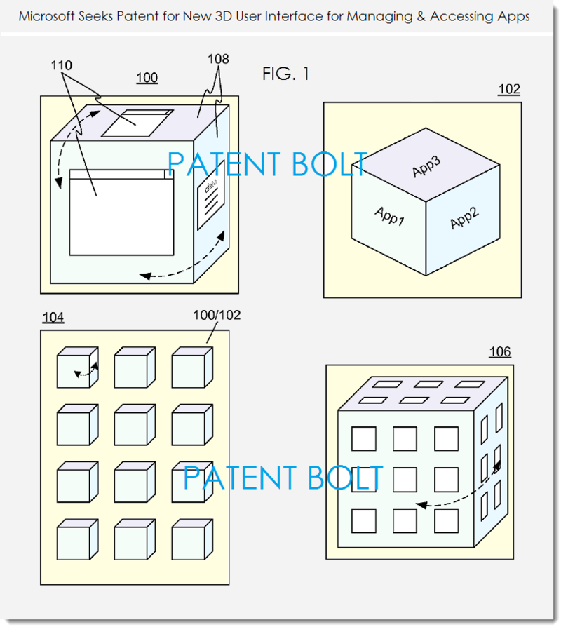 2. MSFT PATENT FIG. 1 3D UI FOR WINDOWS PHONE