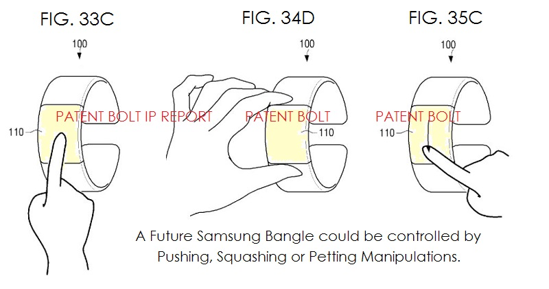 5a Samsung Bangle device controlled by squashing, pushing or petting actions