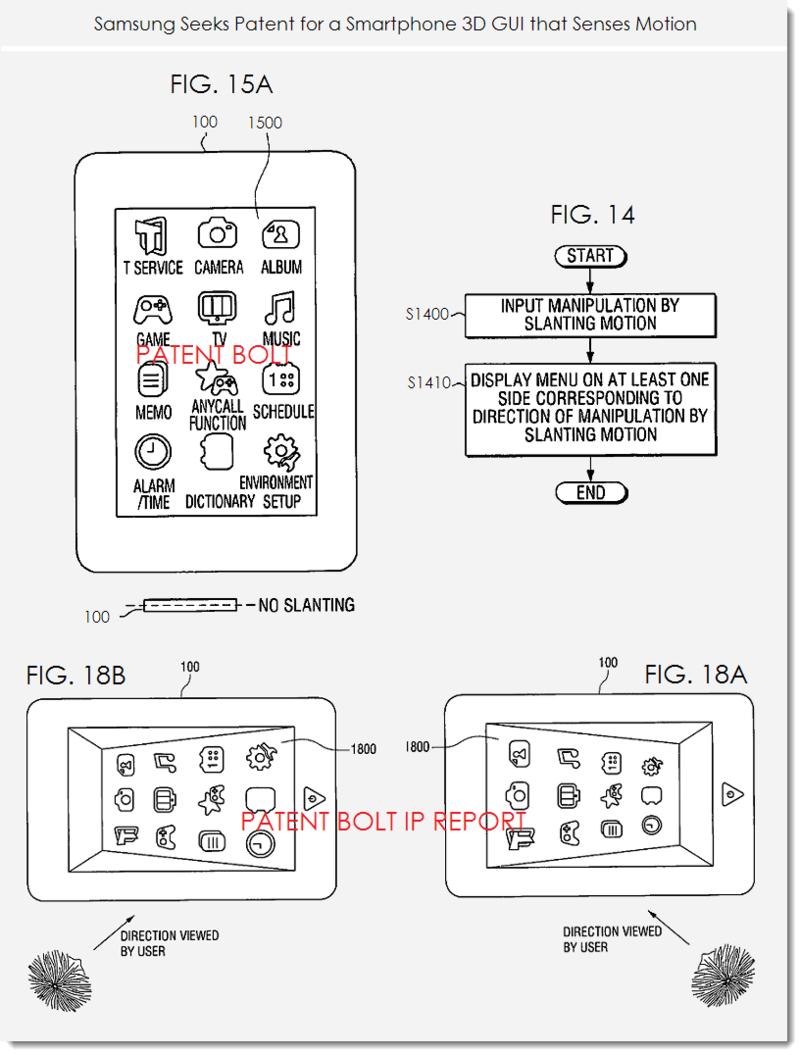 2 - Samsung patent figs 14, 15a, 18a,b 3D GUI