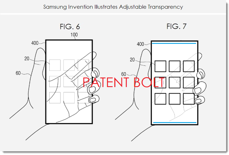 3. Samsung patent figs. 6 and 7 adjustable transparency
