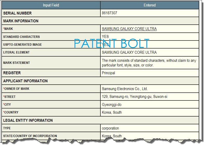3A. Samsung Galaxy Core Ultra TM Filing
