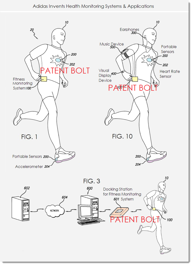 2. Adidas Invents Health - Fitness Monitoring Systems & Apps figs. 1, 3 and 10