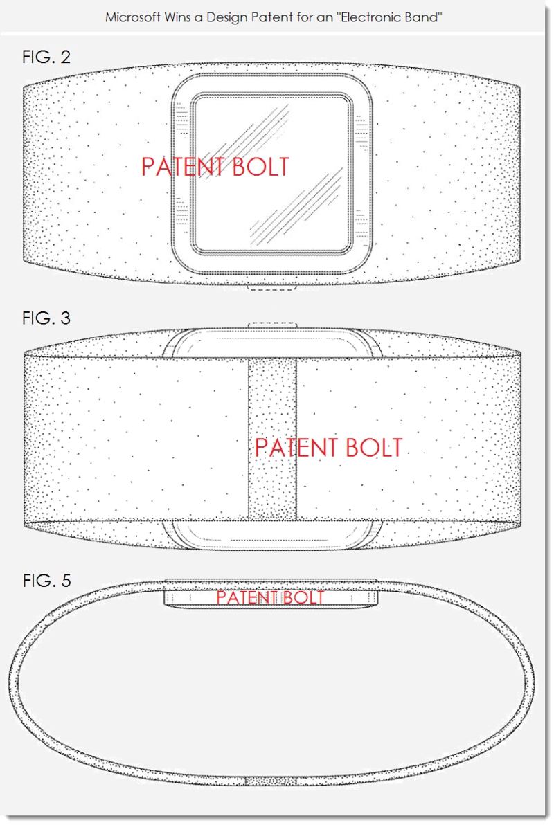 7. Microsoft granted a design patent for an Electronic Band - patent figs 2, 3 & 5
