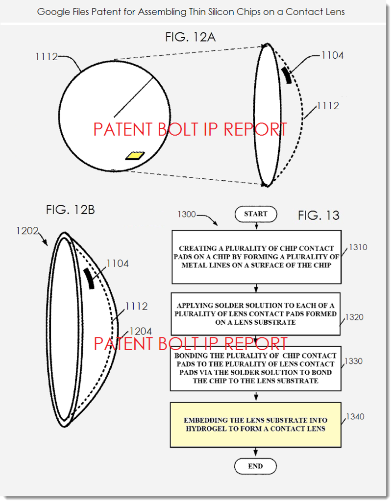 2. Google invents assembling thin silicon chips on a contact lens figs 12a,b & 13