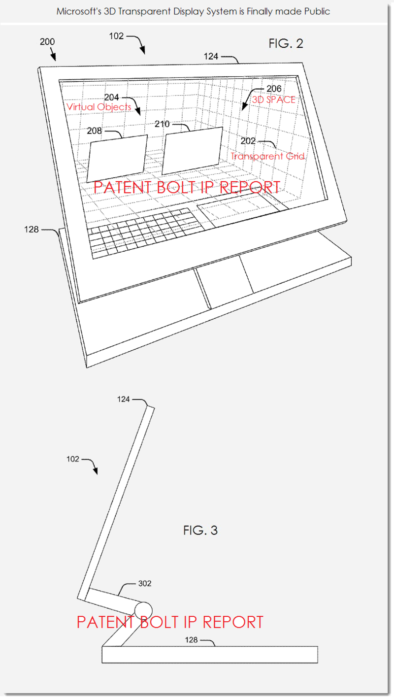 2. MSFT PATENT FIGS 2 & 3 3D TRANSPARENT DISPLAY SYSTEM