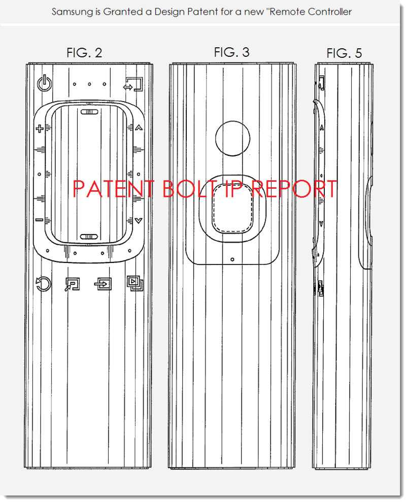 5. Samsung wins design patent for new remote controller - figs. 2,3 and 5