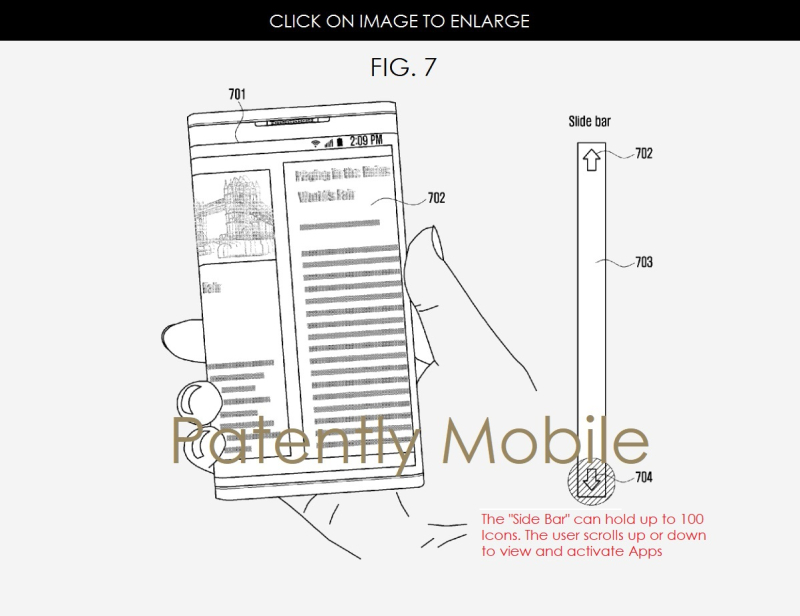 6 AF X 99 SAMSUNG PATENT FIG. 7 WRAPAROUND DISPLAY WITH SMART SPINE