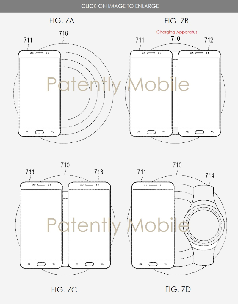 2 SAMSUNG PATENT FIGS 7A-7D WIRELESS CHARGER  DUAL CHARGING