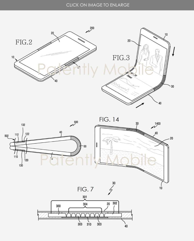 5 folding device patent 5 figures  patently mobile  samsung patent