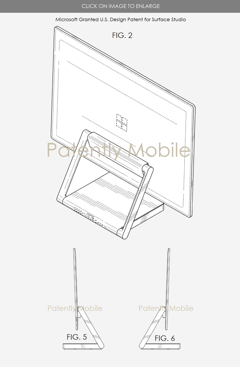 3 microsoft surface studio design patent issued nov 28  2017