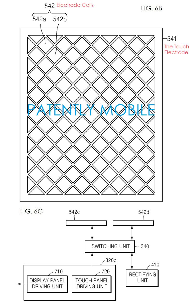 2AF - Samsung electrodes for charging in the display fig. 6b, 6C