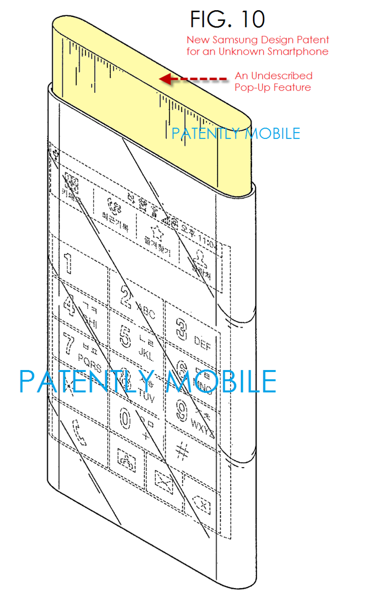 4AF 5A SAMSUNG DESIGN PATENT FIG. 10 OF NEW SMARTPHONE WITH POPUP FEATURE