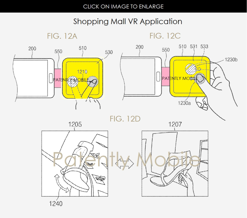 7AF X99 FIGS 12A  12C & 12D SHOPPING MALL VR APP - SAMSUNG - PATENTLY MOBILE - JUNE 2017