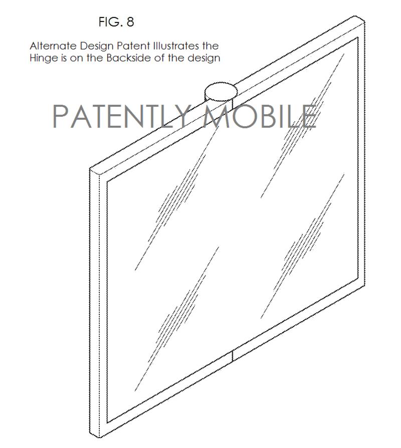 6AF - alternate single-fold smartphone design with hinge on the backside - samsung granted design patent