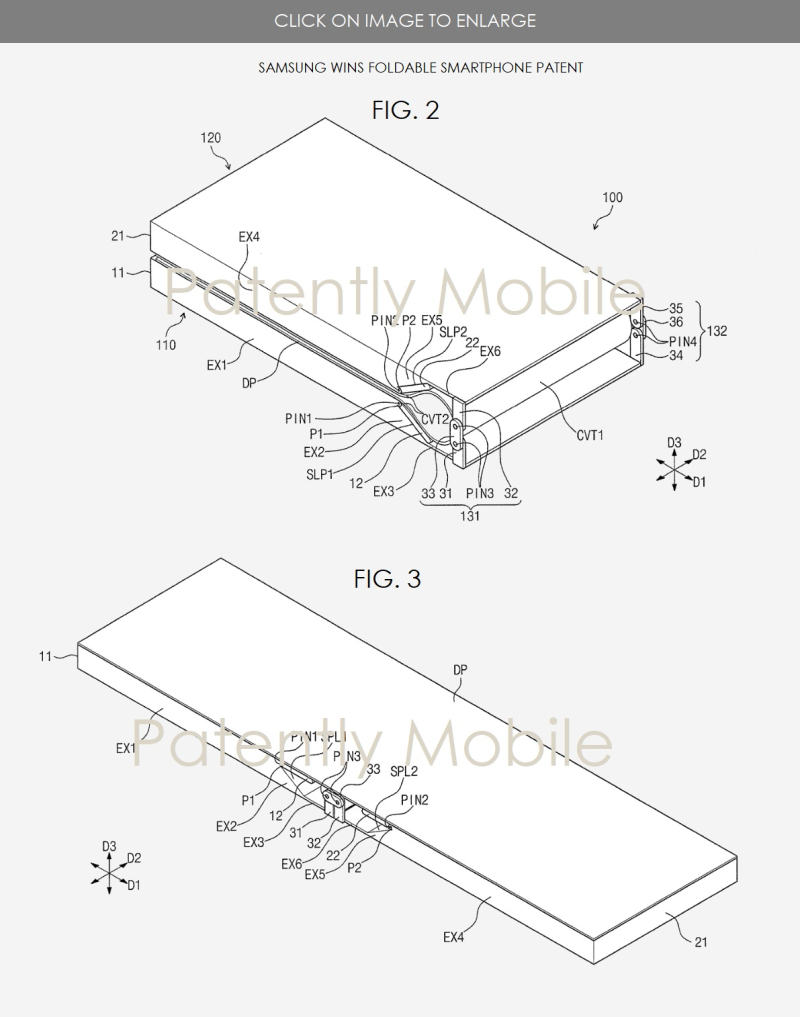 4 jumbo graphic  2 images of foldable devices  samsung granted patent  Patently mobile report nov 26  2017