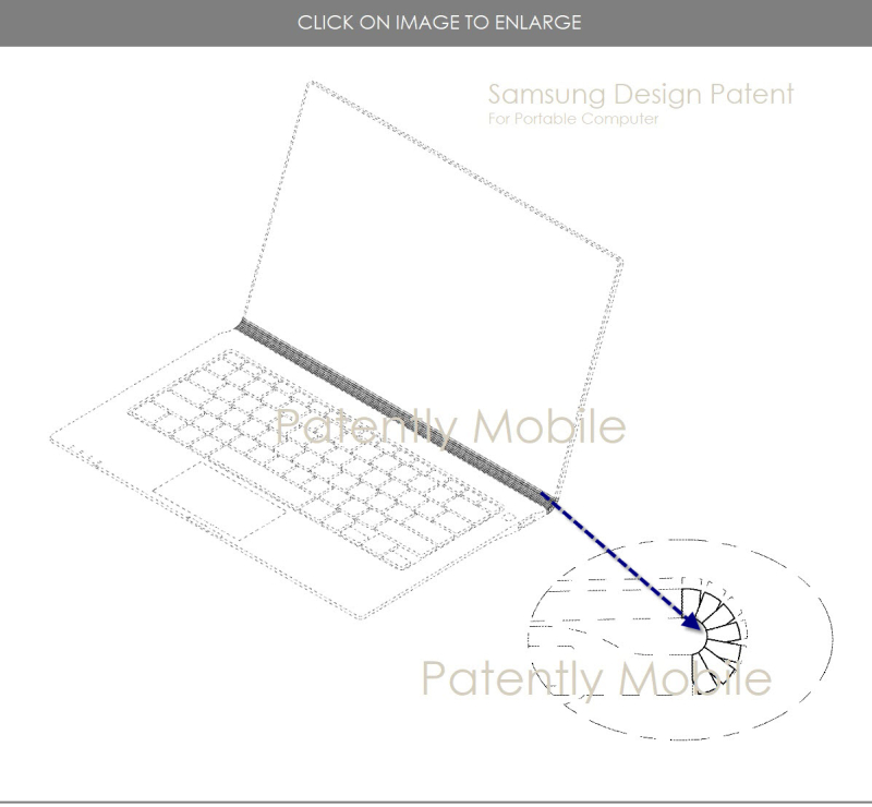 2 X samsung design patent for a portable computer with Lenovo style hinge