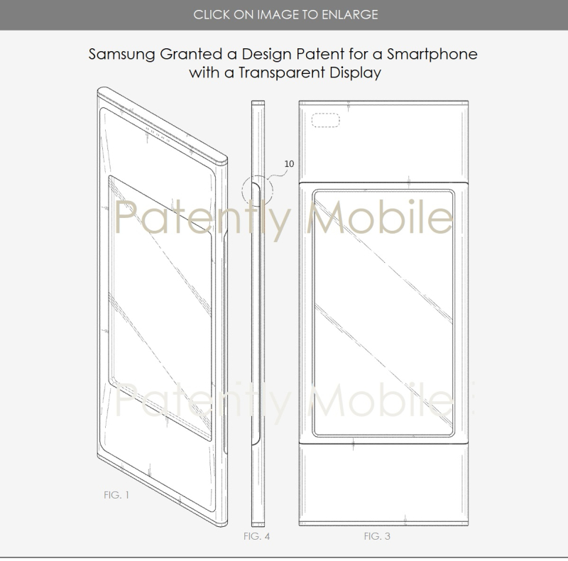5 SAMSUNG DESIGN PATENT FOR A SMARTPHONE WITH A TRANSPARENT DISPLAY MAY 2018  Patently Mobile report