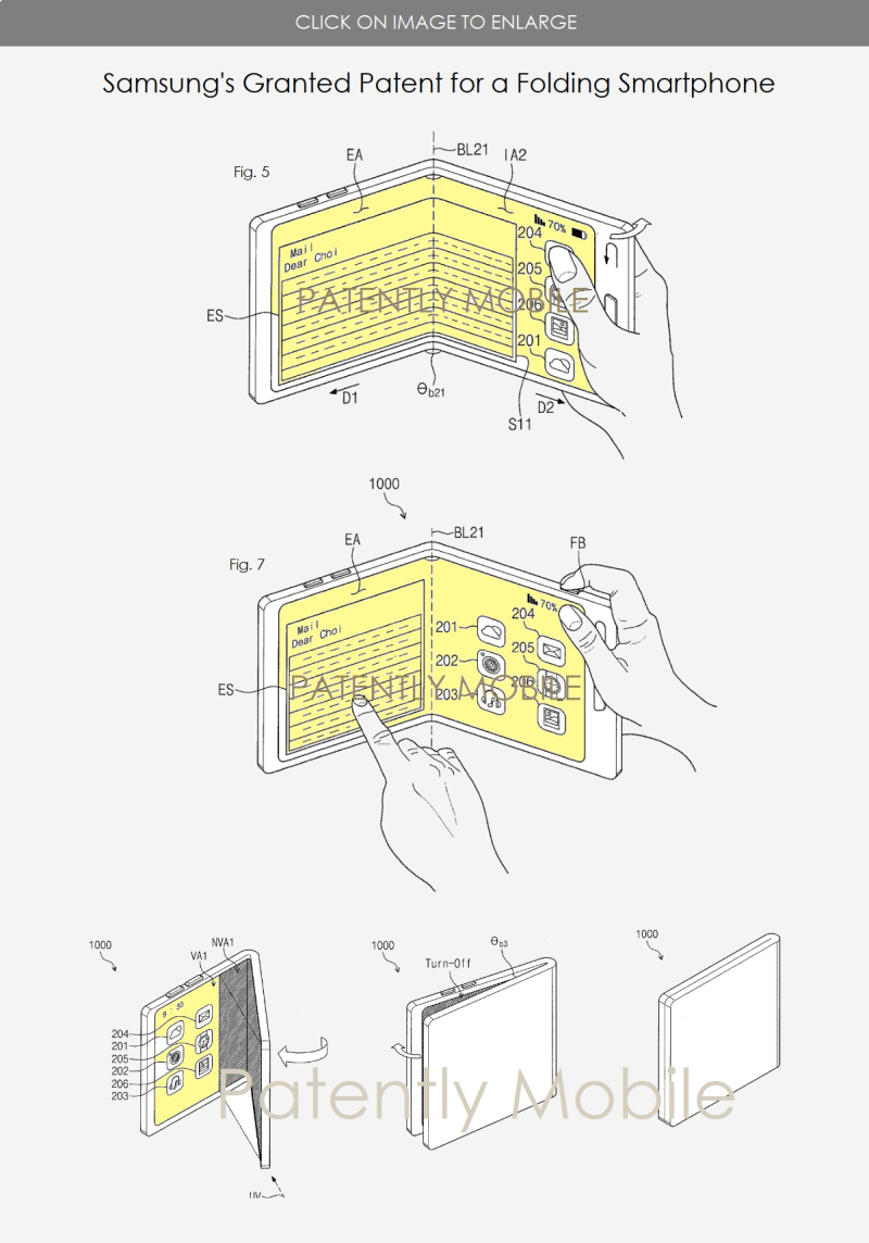 3 SAMSUNG FOLDING SMARTPHONE GRANTED PATENT