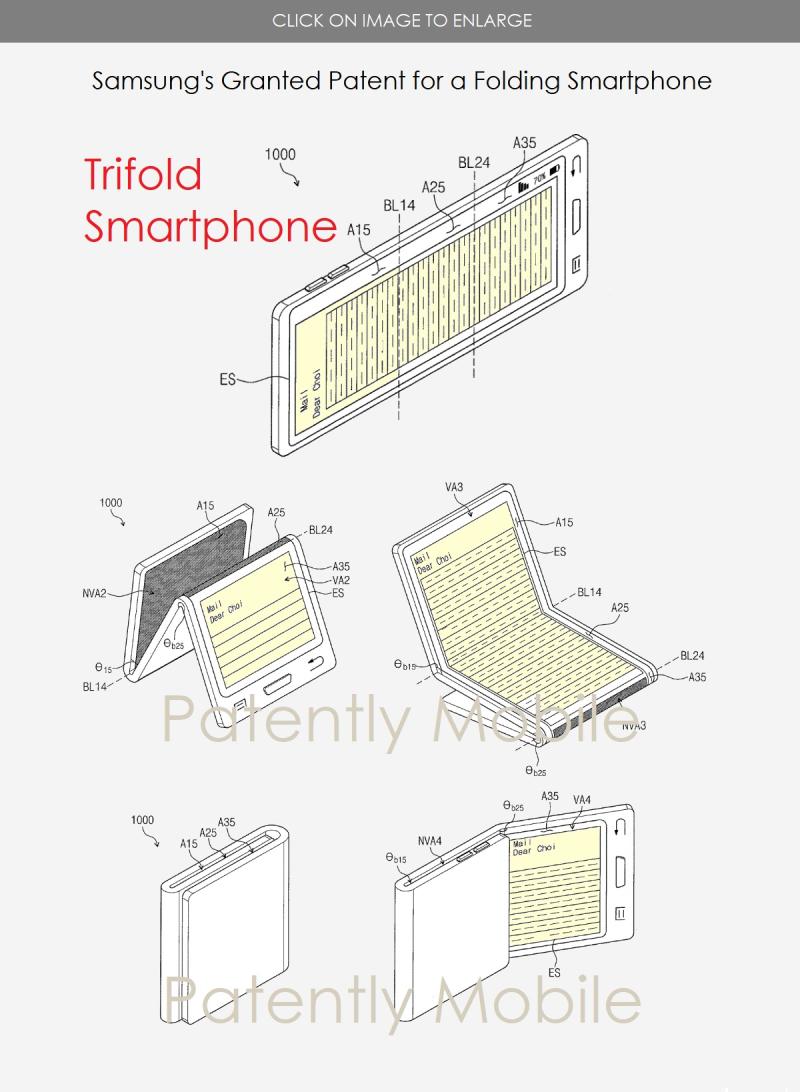 3 SAMSUNG FOLDING SMARTPHONE GRANTED PATENT