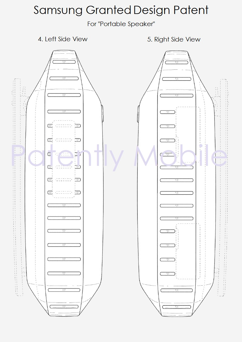 2 samsung portable speaker granted patent may 8  2018 - patently mobile