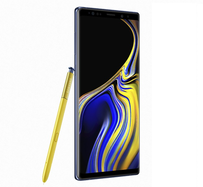 9.9 - Samsung note9 in Ocean-Blue and yellow S Pen