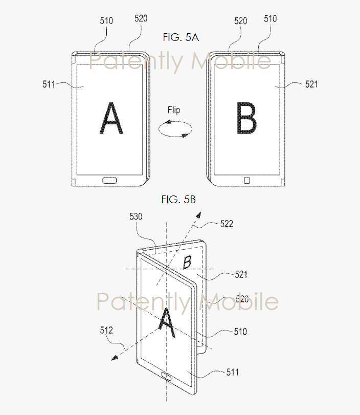 4 Samsung Patent FIGS 5A B showing one configuration of folding phone - Patent Mobile report Nov 2018