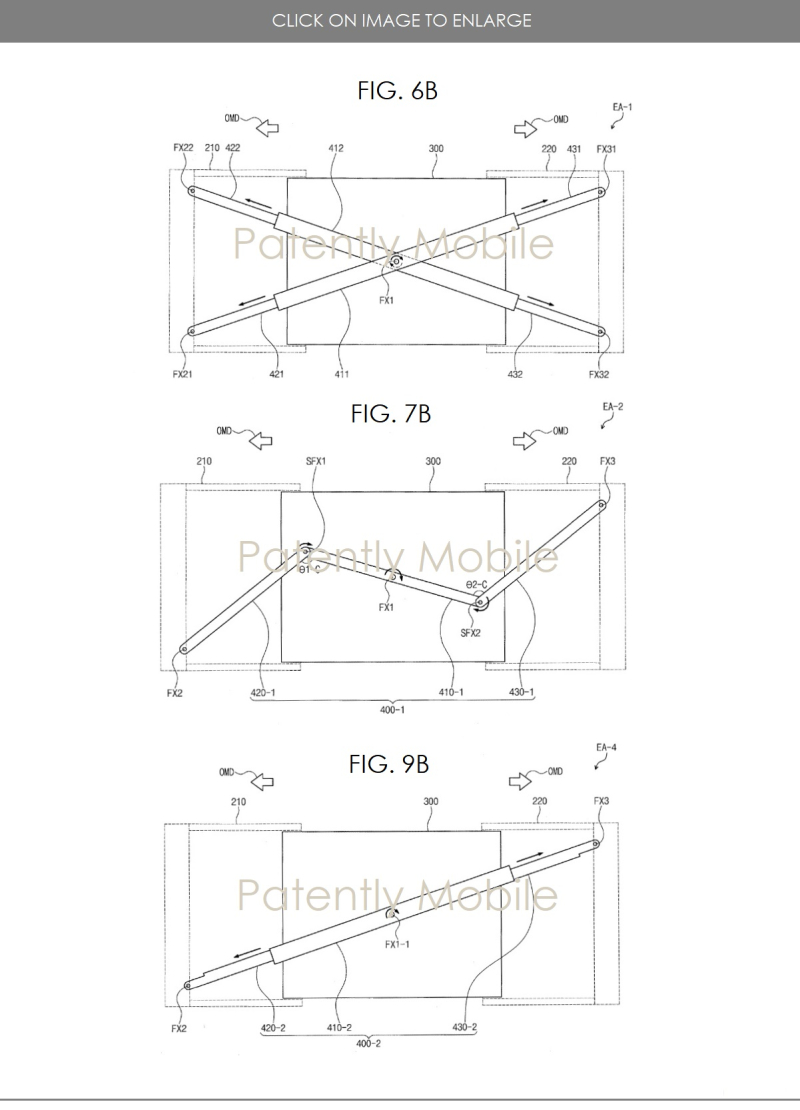 3 X Examples of  SAMSUNG EXPANDING DISPLAY BACK SUPPORT STRUCTURES