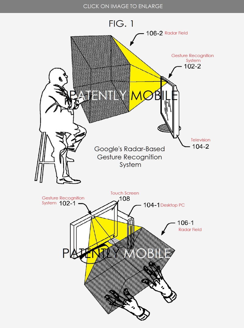 5 Patent Figures from Google's 2016 patent on radar based in-air gesturing