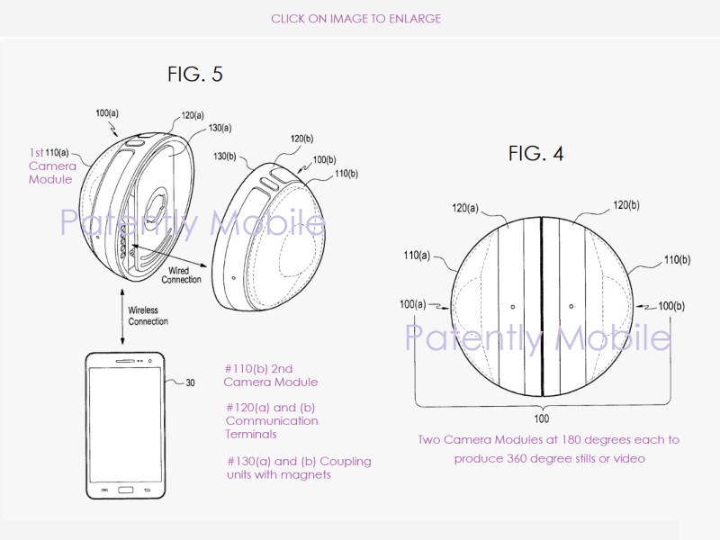 3 X SAMSUNG PATENT FIGURES 4 & 5 360 DEGREES CAMERA ACCESSORY FOR A SMARTPHONE
