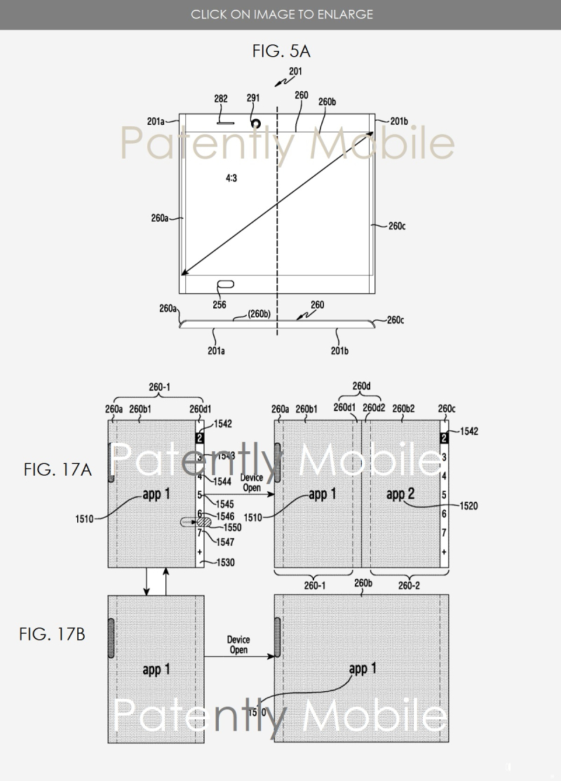 5 elaborate samsung foldable smartphone patent 2018 figs 5a and 17ab